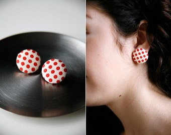 Nickel-Free Fabric Button Earrings - Red/Ivory Dot