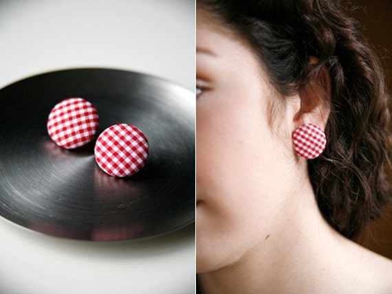 Nickel-Free Fabric Button Earrings - Small Red Gingham