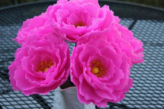 Pink Peonies - Crepe Paper Flowers