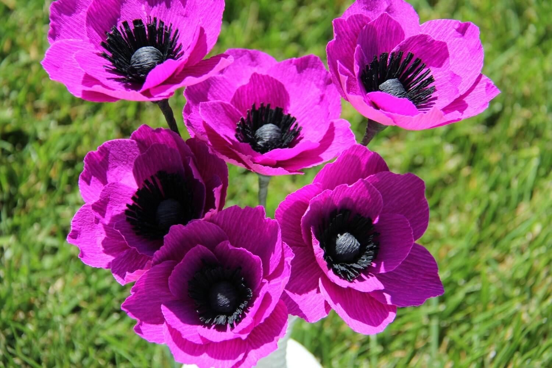 Crepe Paper Flowers Purple Anemone Flowers by FlowerBazaar