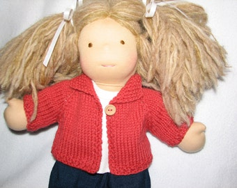 Doll Clothes - Sweater in Deep Salmon  red / orange Wool for 15 inch doll RTG