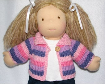 """Doll Sweater for 15"""" doll in Pink Purple Stripes RTG"""