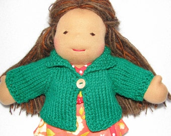 Doll Sweater for 10 inch Doll in Kelly Green Wool RTG