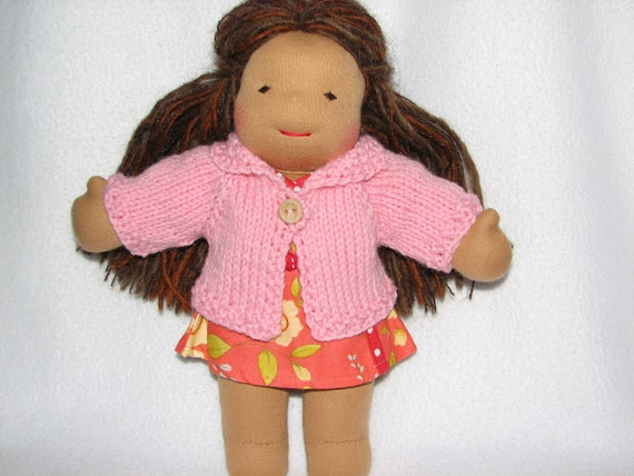 Waldorf Doll Sweater for 10 inch Doll in Light Pink Wool RTG