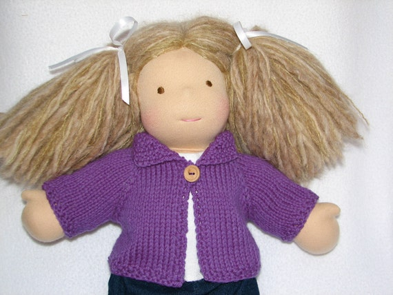 Waldorf Doll Sweater in Purple Grape Wool for 15 inch doll RTG