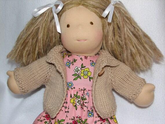 Waldorf Doll clothing Sweater in Tan / Khaki Wool for 15 inch doll RTG