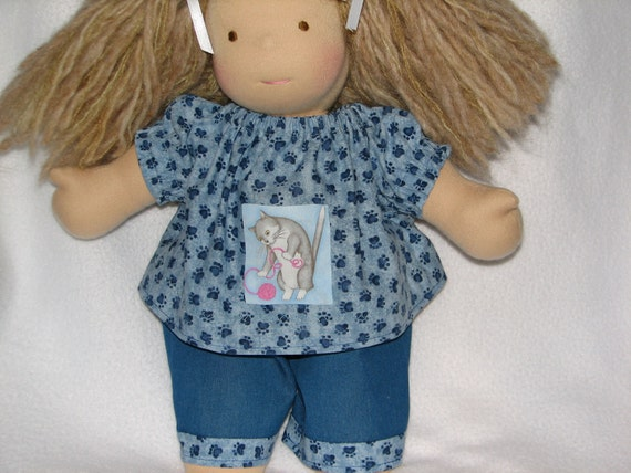 Waldorf Doll Clothes Jeans & Cat / Kitten / Kitty Peasant Top Blue Paw Print for 15 - 18 inch Doll RTG