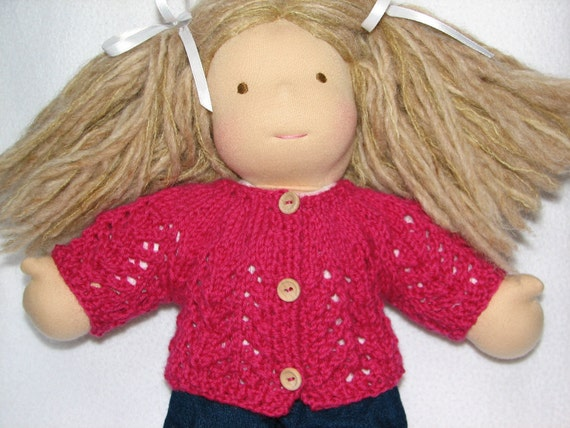 Waldorf Doll Sweater in Rose Pink Wool Lacy Design 15 inch doll RTG