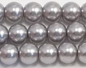6mm Gray Glass Pearl Beads - 1 strand