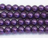 4mm Purple glass pearls - 15.5 inch strand