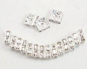 8mm Clear Silver Plated Rhinestone Squaredelles 50 pcs square high refraction brilliant sparkling rhinestone rondelles AAA Grade