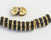 8mm Black Gold Plated Rhinestone Rondelles w/Mideast Stones - 100 - SELECT