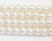 3mm Off White Glass Pearl beads - 1 strand