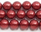14mm Red Glass Pearl Beads (approx 30 beads)