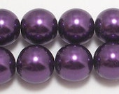 14mm Purple Glass Pearl Beads - 1 strand