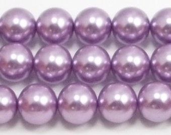 12mm Lavender Glass Pearls