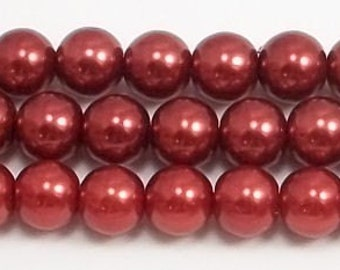 8mm Red Glass Pearl Beads - 15.5 inch strand of 8mm glass pearls
