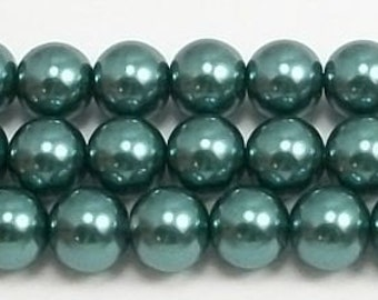 8mm Teal Green Glass Pearls one strand - 8mm glass pearls High Quality glass pearls #8TGP Round