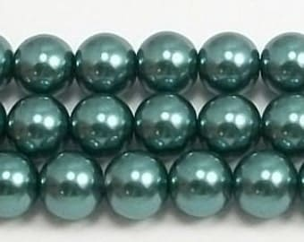 10mm Teal Glass Pearls 5 pieces