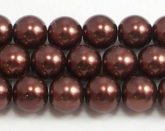 8mm Brown Glass Pearls - 15.5 inch strand of glass pearls