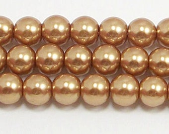 6mm Gold Glass Pearl Beads 1 strand Grade AAA 6mm glass pearls