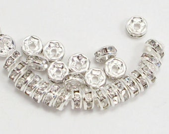 6mm Clear Silver Plated Rhinestone Rondelles w/Mideast Stones (50)
