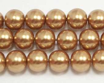 8mm Gold Glass Pearls - one strand of 8mm Gold glass pearls - high quality #8GGP