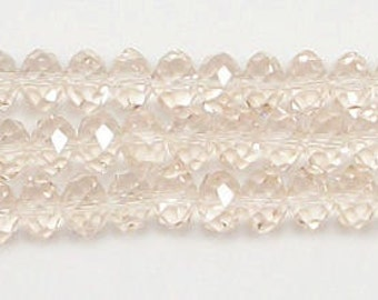 6x8mm Light Peach Crystal Rondelle Beads