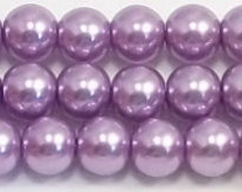 6mm Lavender Glass Pearls One strand - High Quality 6mm glass pearls #8LGP