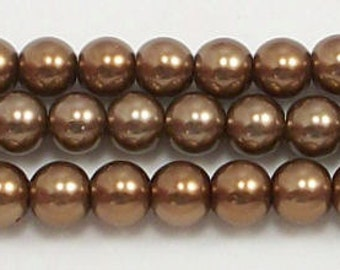 6mm Bronze Glass Pearl Beads One 16 inch strand