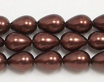7x9mm Brown Teardrop Glass Pearl Beads 15.5 inch strand