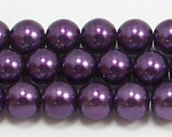 6mm Puprle Glass Pearl Beads One 16 inch strand