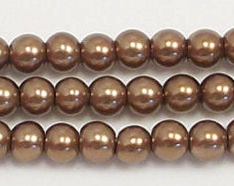 4mm Bronze glass pearls - 15.5 inch strand