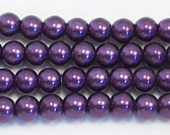 4mm Purple glass pearls - 15.5 inch strand