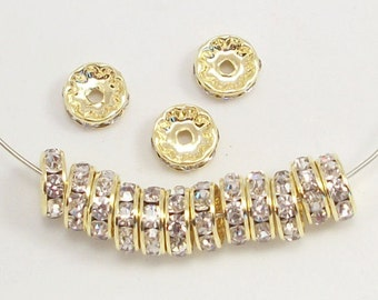 10mm Clear Gold Plated Rhinestone Rondelles w/Mideast Stones (25)