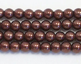 4mm Brown glass pearls - 15.5 inch strand