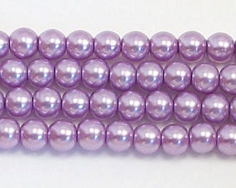 4mm Lavender glass pearls - 15.5 inch strand