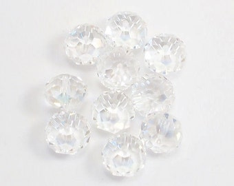 10X14mm Clear AB Faceted Crystal Rondelle Beads (10)