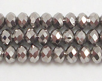 4x6mm Metallic Silver Crystal Rondelle beads (50-100)