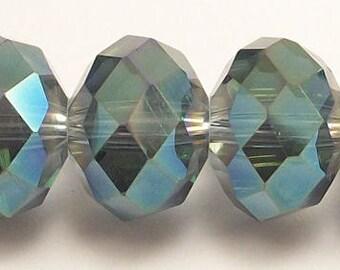 8x12mm Transparent Blue-2 Faceted Crystal Rondelles (20)