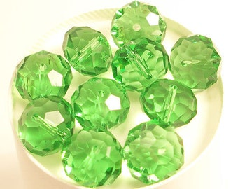 14x10mm Green Faceted Crystal Rondelle Beads (10)
