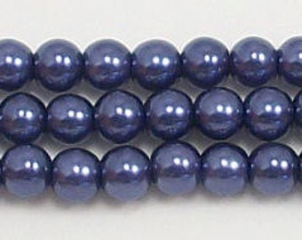 4mm Navy Blue Glass Pearls Beads - 15.5 inch strand