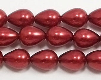 7x9mm Red Teardrop Glass Pearl Beads - 1 strand