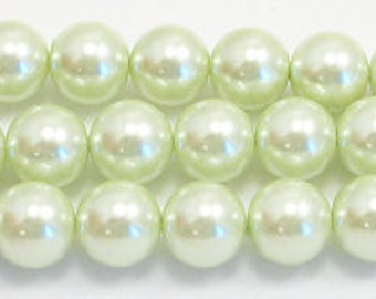 8mm Lime Glass Pearls