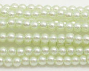 3mm Lime Glass Pearls - 1 strand