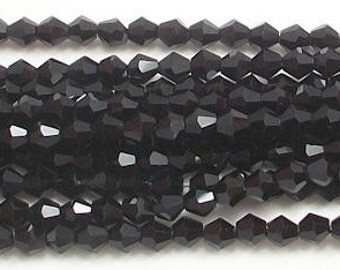 4mm Black Chinese Crystal  Bicone Beads (50)
