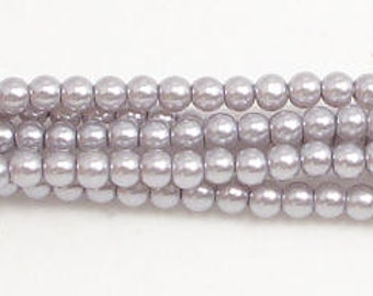 3mm Gray Glass Pearls 1 strand Grade AAA 3mm Gray glass pearls