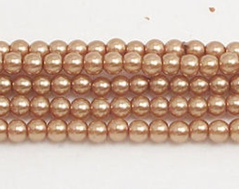 3mm Champagne Glass Pearls 1 strand