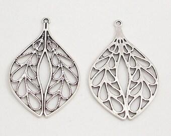 Antique Silver Metal Leaf Drop (2)