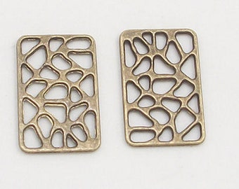 Antique Brass Rectangle Lace 15x24mm Metal Charms (7)